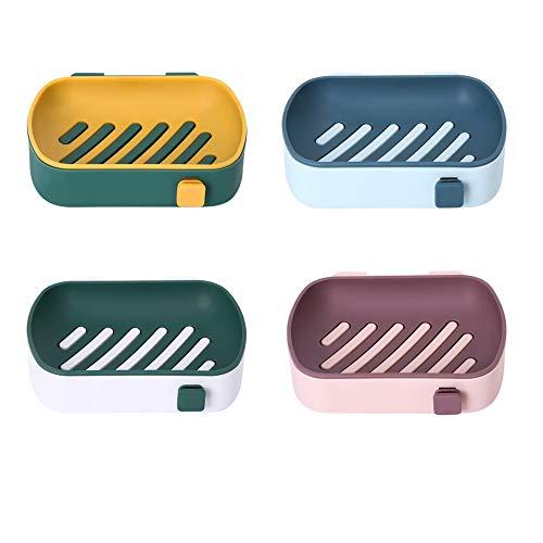 4 Stück Seifenschale, Selbstklebende Wand-Seifenschale, Dual-Layer Seifenablage mit Drainage, um die Seife Trocken zu Halten, Seifenschale für Badezimmer, Theke, Dusche, Küche