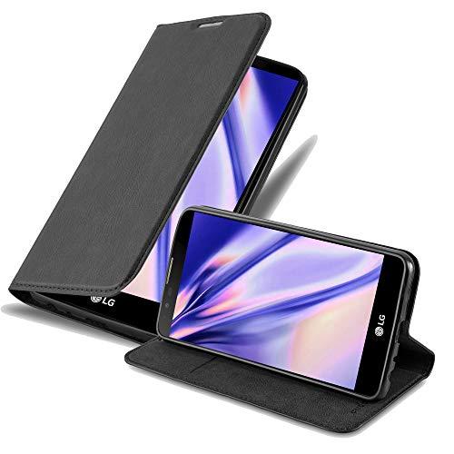 Cadorabo Hülle für LG Stylus 2 in Nacht SCHWARZ - Handyhülle mit Magnetverschluss, Standfunktion & Kartenfach - Hülle Cover Schutzhülle Etui Tasche Book Klapp Style