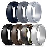 Mokani Silicone Ring for Men, 7-Pack Step Edge Sleek Design Rubber Wedding Bands