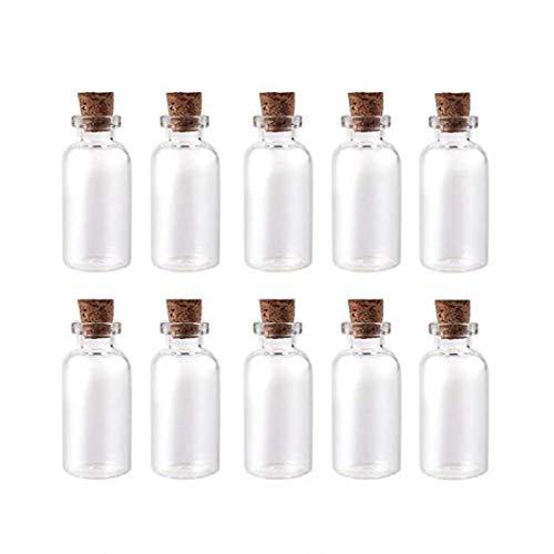 fedsjuihyg 10pcs Pequeño Vidrio vacío Botella Tiny tarros de Cristal con Taponeras Boda de Vacaciones Mini Contenedores