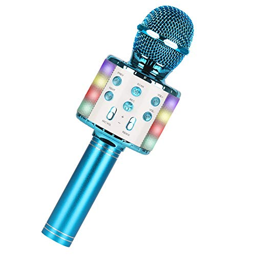 Micrófono Karaoke,Guiseapue Micrófono Inalámbrico Microfono Niños, Bluetooth Altavoz,Micrófono Karaoke Portátil para KTV Micrófono Wireless Bluetooth Compatibile con PC/iPad/iPhone (Azul)