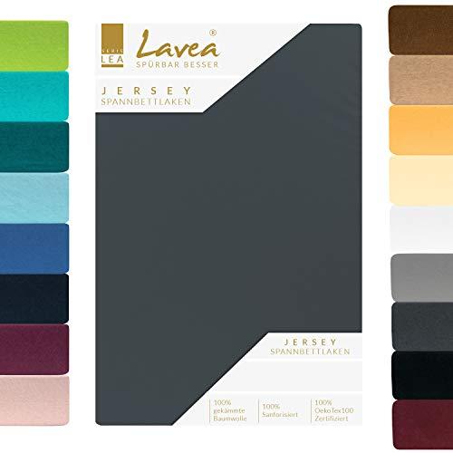 Lavea Jersey Spannbettlaken, Spannbetttuch, Premium Serie LEA, 200x220cm für Boxspring- und Wasserbetten, Anthrazit, 100% gekämmte Baumwolle, hochwertige Verarbeitung, mit Gummizug und OekoTex100