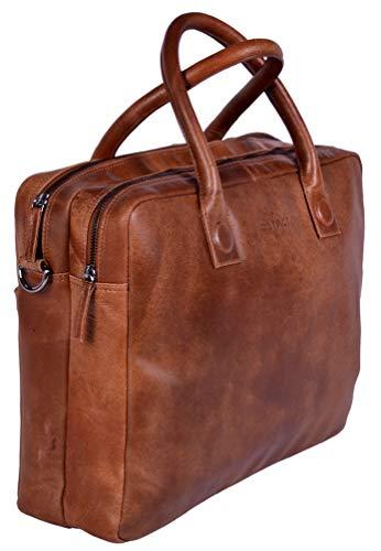 DSTRCT Fletcher Leren Business Laptoptas - 15,6 inch laptopvak - Cognac
