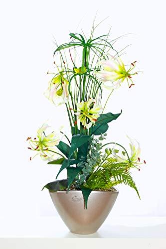 Liatris Floristik Gloriosa mit weißen Blüten, hochwertiges Kunstblumen-Gesteck im stilvollen Topf in der Farbe Champagner, Seidenblume wie echt, Moderne Dekoration 60 cm groß