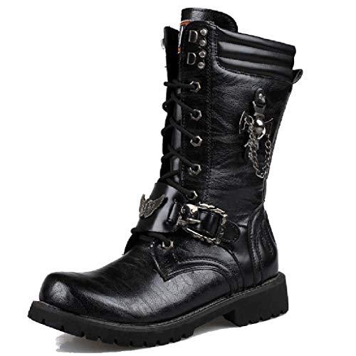 YXMYMM Martin Boots Punk Botas góticas para Hombre Cordón Hebilla de cinturón...