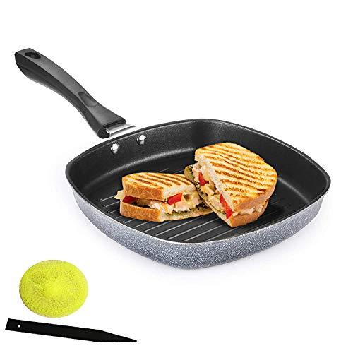 Panca Non Stick Aluminium Grill Pan Multi Snack Pan Sandwich Maker Uttapam Pan Chilla Pan Toast Pan Grilled Sandwich Snackers Large Pan Kadai Multipurpose- Grey, Make in India