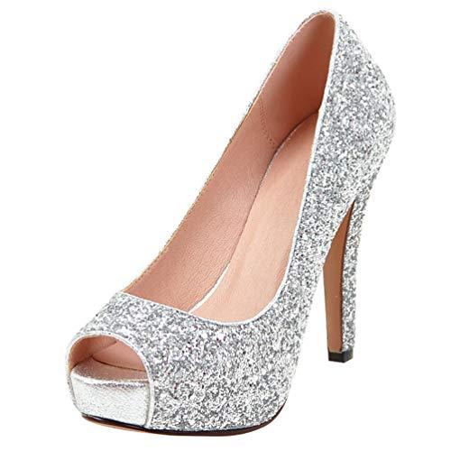 LUXMAX Scarpe Glitter Decolte Donna con Tacco Alto e Plateau Tacchi a Spillo Peep Toe Pumps Shoes (Argento) - 34 EU