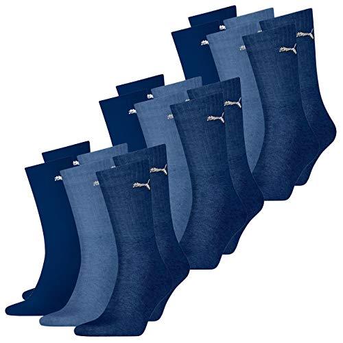 Puma Sport CREW LIGHTWEIGHT - Calze unisex da uomo e donna, confezione da 9 pezzi, 35-38 39-42 43-46 47-49, colore: nero, bianco, grigio, blu blu navy 47-49