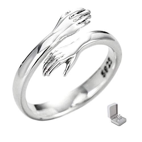 Give Me A Hug Ring 925 Sterling Silver Abertura ajustable Love Hug Pareja Anillo Regalo romántico creativo para mujeres y hombres (male)