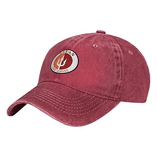 Gymini Not Today Satan Not Today-4 Sombreros Algodón Lavable Gorras De Béisbol Ajustable Para Hombre Mujer Rojo