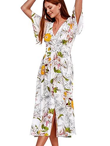 CUPSHE Women's Floral A-Shape Elastic Waist Maxi Dress S White
