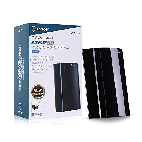 ANTOP ANTENNA 50 Miles Digital Amplified AM/FM Radio Antenna Indoor for All Brand Stereo Radio Audio Signals RF Broadcast Receiver
