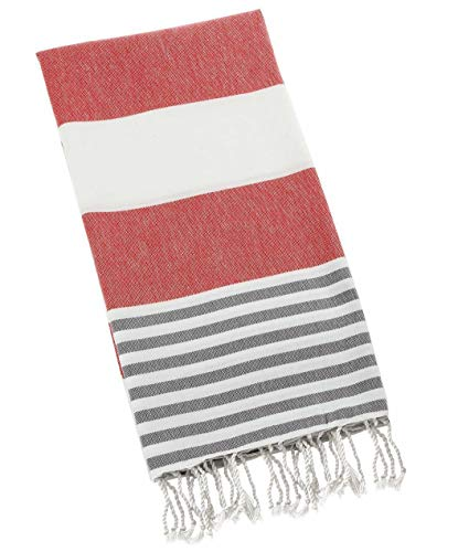EASY SPA 100% Turkish Cotton Bath Towel, The Best Towel Among Bath Towels, Shower Towels, Quality Towel for Beach, Spa, Gym, Pool, Lake - 39'' X 70'' (XXL) (Red / Gray)