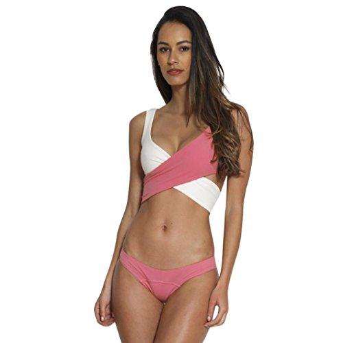 TWIFER Neckholder Farbblock Push-Up Bikini, Frauen Bademode Badeanzug