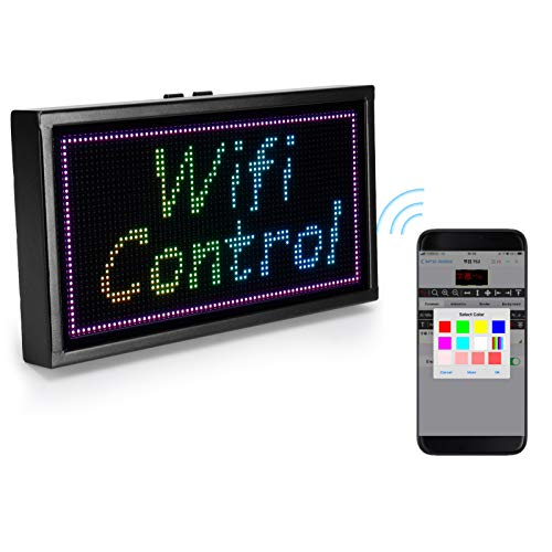 LED Sign Display, 11' X 6' WiFi Full Color Programmable Scrolling Message Board USB Powered Portable LED Display Board for Advertising, Business, Car Window, Shopping Mall, Bar, Storefront