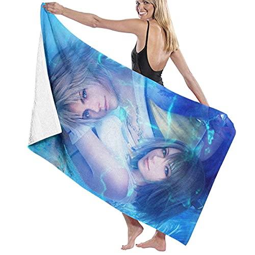 Final Fantasy X-Tidus and Yuna Anime - Toalla de baño unisex súper suave, súper absorbente y de secado rápido, para viajes, playa, fitness, 80 x 130 cm