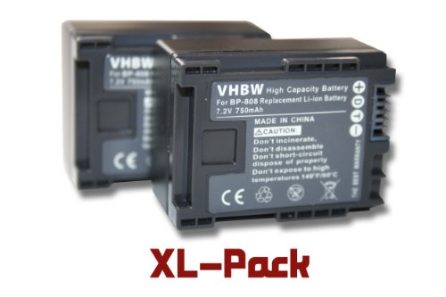 vhbw 2 x Li-Ion batería 750mAh (7.2V) para videocámara cámara de Video Canon Legria HF M41, HF M46, HF M406, XA10 por BP-808
