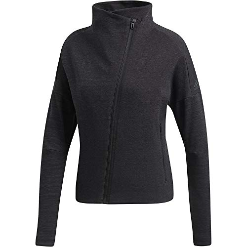 adidas W HTR Jkt Sudadera, Mujer, Black/Grey Five, S