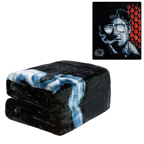 JPI Plush Throw Blanket - Scarface Cigar - Queen Bed 79'x 95' - Faux Fur Blanket for Beds, Sofa, Couch, Picnic, Camping