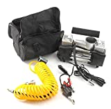 150PSI two-stage car air compressor + pressure gauge compressed air tyre inflator two cylinders with carry bag...