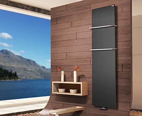 Badheizkörper Design Mirror Steel 3, 180 x 47 cm, 1118 Watt, moonstone-grau (metallic) + 2 Handtuchhalter (15x15mm) (Marke: Szagato) Made in Germany/Bad und Wohnraum-Heizkörper (Mittelanschluss)
