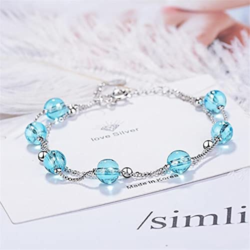 Double Layer Special price for a limited time Blue Today's only Crystal 925 Silver Sterling Jewelry Personalit