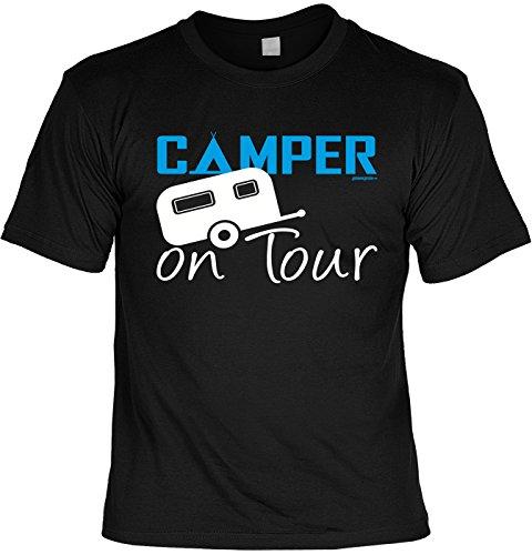 Camping Sprüche T-Shirt - Bekleidung Camper : Camper on Tour - lustige Campingplatz Ausrüstung Gr: S
