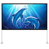 HYZ Projector Screen with Stand,100 inch Portable Indoor Outdoor Projection Screen 16:9 4K HD Wrinkle-Free Front Rear Video Projection Screen for Movie with Carry Bag for Backyard Movie Night