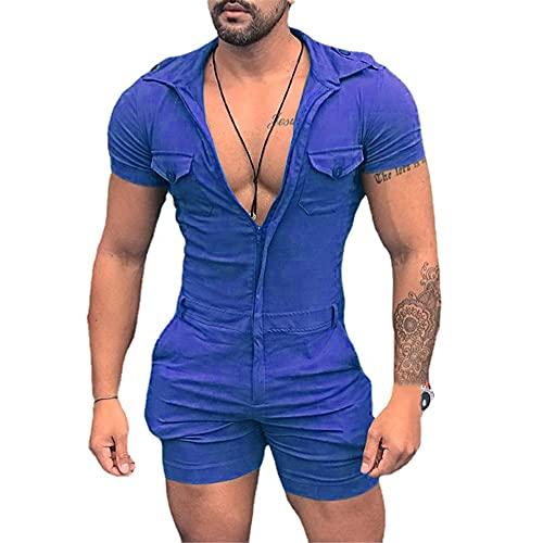 Deportiva Camisa Hombre Moderna Simplicidad Moda Color Sólido Cremallera Hombre Shirt Verano Ajustado Elástico Bolsillo Manga Corta Diarios Casual Sport Hombre Pelele D-Blue M