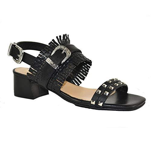 xyxyx Damen Leder Sandaletten Riemchen Sandalen Schuh Schwarz 36 EU