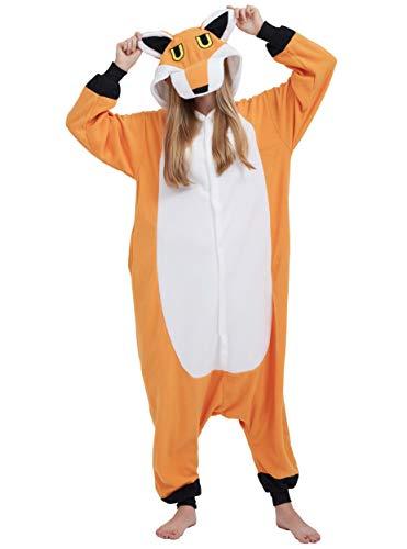 Pigiama Anime Cosplay Halloween Costume Attrezzatura Adulto Animale Onesie Unisex, Volpe per Altezze da 140 a 187 cm