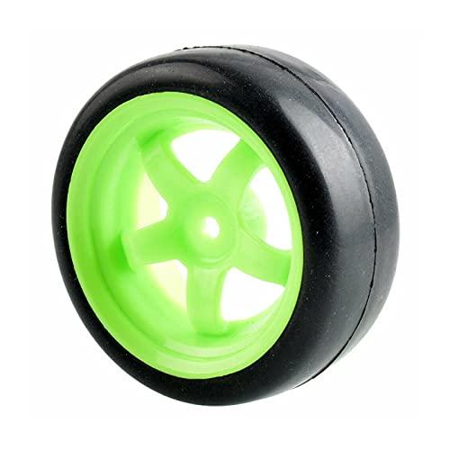 VSKTE Los Juegos de Ruedas de los neumáticos de Carreras Slick Aptos para HSP HPI 1.10 Auto turístico (Color : Green Wheel)
