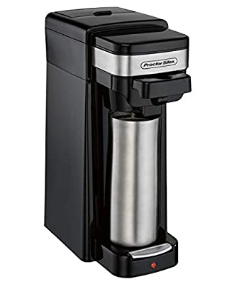 Proctor Silex Single Serve Coffee Maker, Compatible with K-Cup Pods or Grounds, Fits a Travel Mug (49969)