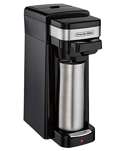 Proctor Silex Single Serve Coffee Maker, Compatible with K-Cup Pods or Grounds, Fits a Travel Mug (49969) (Hamilton Beach 49981a Single Serve Scoop Coffee Maker)