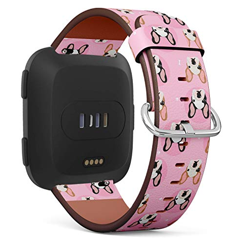 Compatible with Fitbit Versa/Versa 2 / Versa LITE/Leather Watch Wrist Band Strap Bracelet with Quick-Release Pins (French Bulldogs)