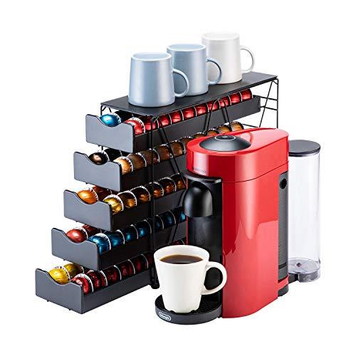 Flagship for Nespresso Pod Holder Drawer Large Mullti Tier Coffee Pod Holder for VertuoLine Pods