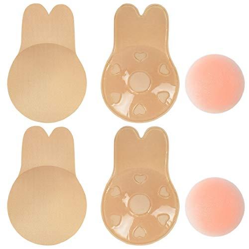 UMIPUBO - Cubrepezones de silicona sin tirantes, adhesivos invisibles Pelle+pelle C/D (12 cm)