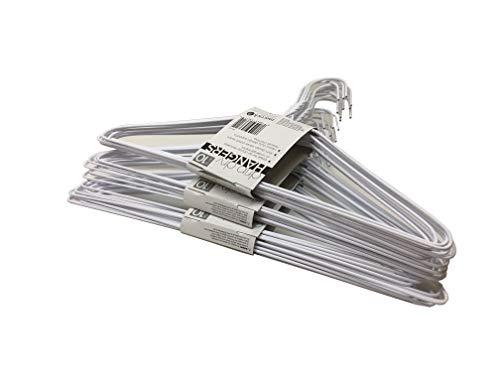 Set of 30 Wire Hangers Galvanized Steel Metal Coat Clothes Hangers with Plastic Coating White Color 16' (40.5Cm) Wide - 13 Gauge