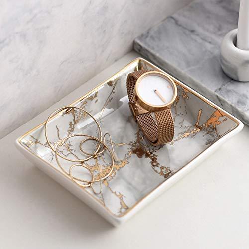 lemonadeus Ceramic Marble Ring Dish Jewelry Dish Ring Holder Jewelry Organizer Soap Dish with Golden Edged Multipurpose Trinket Tray (Small Gold Marble)