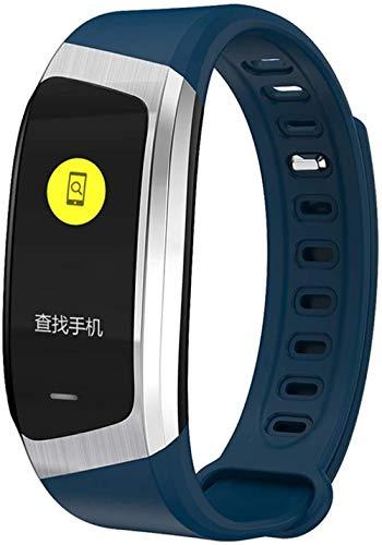Reloj inteligente 0 96 pulgadas pantalla táctil grande llamada información recordatorio Bluetooth Deportes Salud pulsera azul plata