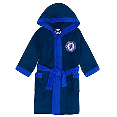 Chelsea FC Official Soccer Gift Mens Fleece Dressing Gown Robe Navy Medium