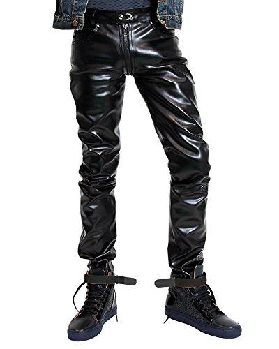 Bockle® G-Zip Faux Kunstlederhose mit durchgehendem Reißverschluss, Size: W29/L30