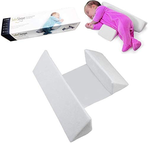 HCHANA Baby Sleeping Side Pillow,Adjustable Side Support Pillow Removable Washable Velvet Cover Pillows for Infant Side Sleep Positioner (White)