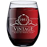 70th Birthday Gifts for Women Men - 1951 Vintage 15 oz Stemless Wine Glass - 70 Year Old Birthday Party Decorations - Seventieth Anniversary Presents for Parents Dad Mom - Seventy Class Reunion Ideas