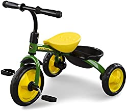 John Deere Heavy Duty Kids Steel Tricycle, Green and Yellow