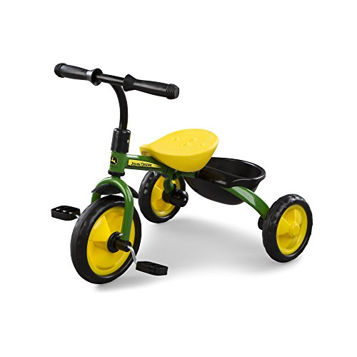 TOMY John Deere Heavy Duty Kids Steel Tricycle, Green and Yellow