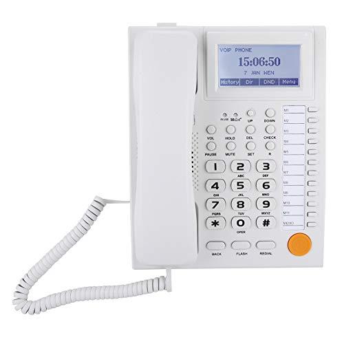 ASHATA Schnurgebundes Telefon, LCD Display Telefon Schnurtelefon mit Stummschaltung,Freisprecheinrichtung Tischtelefon Klarer Ton Analog Telefon mit Dual-Port für Hause Büro Hotel(Weiß)