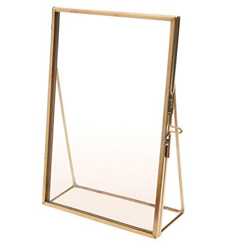 MagiDeal Bilderrahmen Bildergalerie Fotogalerie, Foto Collage Galerie, zum Aufstellen, aus Metall, Gold, Quadrat - Gold, 4x6 Zoll