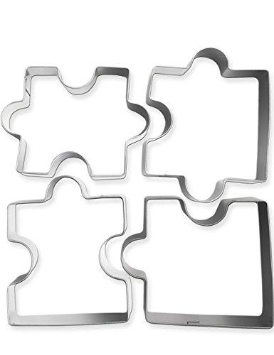 HomeTools.eu® - 4 Ausstech-Formen Puzzle, Keks-Formen, Ausstecher-Set, für lustige Puzzle-Kekse, Edelstahl, 4 Stück