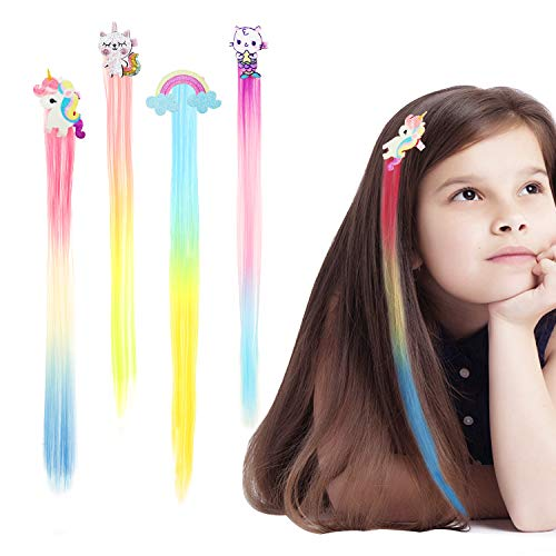 HIFOT 4PCS Braiding Hair Extensions Colored Straight Wigs for Girls, Unicorn Mermaid Rainbow Cat Hair Accessories Neon Ombre Braiding Hair Clips, Banquet Party